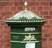 Green postbox in Rochester, Kent